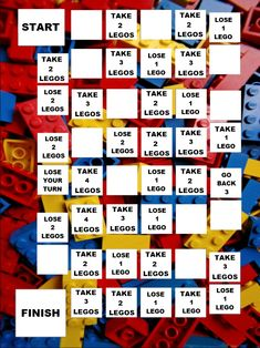 A version of this great Lego Game Board has been going around Pinterest but had no downloadable/printable.  So we made one here at PediaStaff.   Also a pin for discussion here:  pinterest.com/...