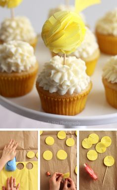 Pom-pom cupcake toppers. How stinkin' cute!