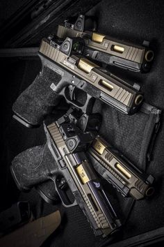 Salient Arms International Smith and Wesson M&P Standard Tier Ones with RMR cut/sight and Salient Arms International Glock 17 Tier Ones with RMR cut/sight.
