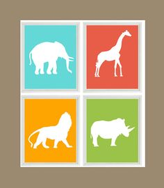 Safari Nursery Art Prints   Elephant Giraffe by RizzleandRugee, $50.00