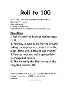 2.NBT.5 Roll to 100 Math Station Center Game2nd grade CCSS: 2.NBT.5 Fluently add and subtract within 100.Students can have a blast adding to ...