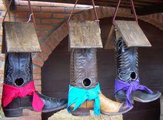 birdhouses, cowgirl boots, texas style, cowboy boots, bird feeders
