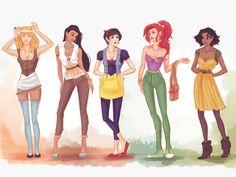 Hipster Disney Princesses: The very viral reinterpretation of the classics by Ukranian illustrator Viktoria Ridzel (viria.tumblr.com), as seen on buzzfeed.com