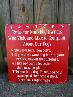 """Rules for Non-Dog Owners - Subway Sign - Hand Painted and Distressed -11""""x11"""" on Etsy, $29.00"""