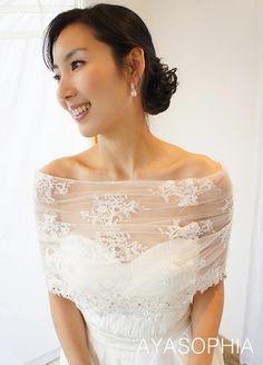 Free shipping,Couture Lace Bridal Bolero,bridal cape,race cape,Wedding Bolero ,Lace Bolero by AYASOPHIA Bridal,tie on