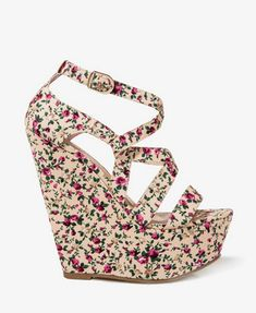 Floral Print Wedge Sandals