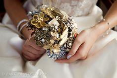 Vintage Glam Gold Silver Wedding Brooch Bouquet