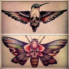 bird skeleton butterfly tattoo