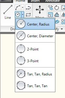 How to use circle command in AutoCAD/LT