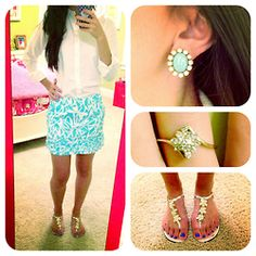 School OOTD! Ralph Lauren button down. Lilly skirt. Kate Spade sandals. Earrings, a Christmas present from my sister! Ring from the pawn shop.