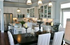 Classic Chic Home: Open Concept White Kitchens & Dining Rooms