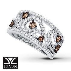 Kay - Chocolate Diamonds® Ring 1 1/3 cttw Round-cut 14K Vanilla Gold™