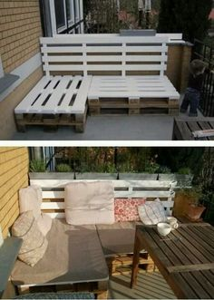 Pallet seating. Great for apartment porches or small areas! I don't really like the pallet part but the seating idea is great.