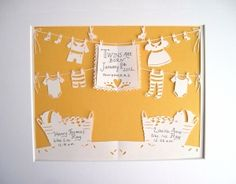artist cut, papertwin birth, cut papertwin, babi announc, birth announcements
