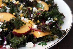 Kale, Peach, Corn and Feta Salad Recipe | mostly foodstuffs