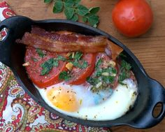 Baked Eggs & Tomatoes, simple breakfast for perfect summer tomatoes. Low carb. Weight Watchers PointsPlus 4.