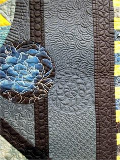 """Quilting detail, """"Sunlit Circles"""" by Ann L. Petersen. Exemplary Machine Quilting award, 2013 AZQG.  Photo by Quilt Inspiration"""