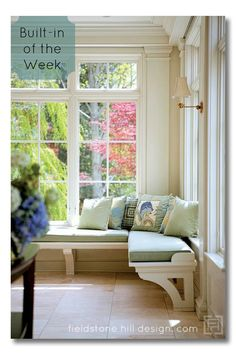 A light and airy entry bench ... A series with great built-in inspiration. Great ideas for smaller homes, new construction, or your dream file. via @FieldstoneHill Design, Darlene Weir Design, Darlene Weir