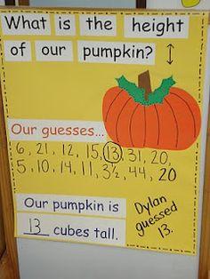 Pumpkin measurement activity - great way to practice estimating too!