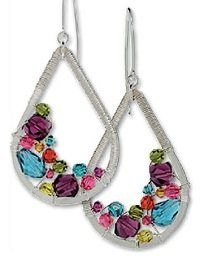 Make Colorful Wrapped Wire Teardrop Earrings with Swarovski Crystals - Jewelry Making Daily - Jewelry Making Daily#Repin By:Pinterest++ for iPad#