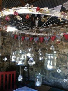 Bike wheel candelabra #Bicycle, #DIY, #Jars, #Light, #Upcycle