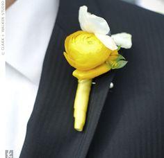 bride bouquets, groom, flower, yellow ranunculus boutonniere