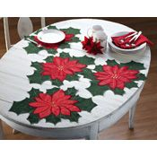 4PC Christmas Holiday Dining Poinsettia Placemat Set