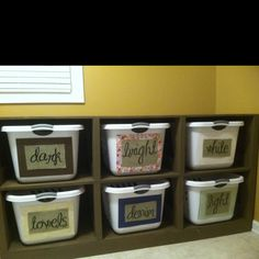 Laundry organization - Saw pedestals and my sweet husband and I recreated and made this!