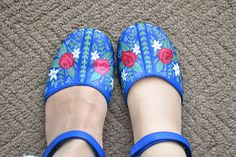 Okay, not sewing.  But shoes are fashion, and these are FABULOUS!! Sachiko from Tea Rose Home has painted multiple pairs of shoes, and has great tricks and tips to share.  And the before/after pictures are incredible!! So cool!