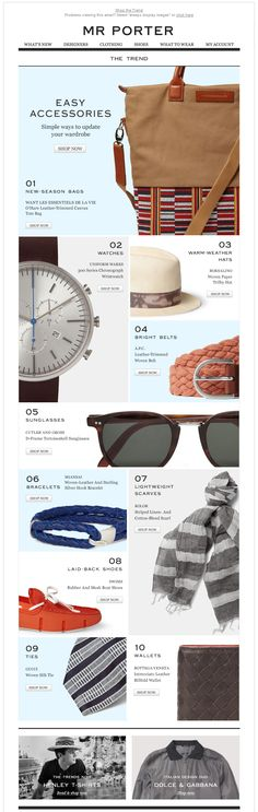 Nice idea for a linear big franchise; hierarchy is handled nicely here too––sunglasses image occupies entire width but doesn't feel more important. fashion webdesign, fashion website layout, email newsletter design, webdesign fashion, email design inspiration, ecommerce website, website design, newsletter design fashion, fashion newsletter design