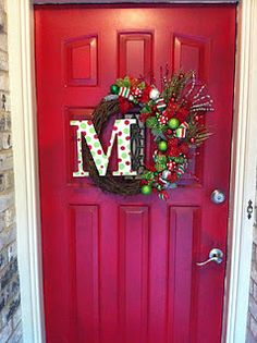 Christmas Wreath - Red, Green with Wooden Letter