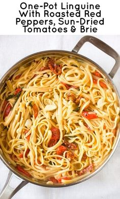 Linguine with Roasted Red Peppers, Sun Dried Tomatoes and Brie