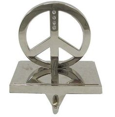 SILVER PEACE SIGN CHRISTMAS STOCKING HOLDER