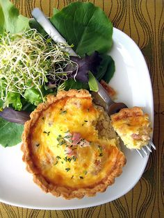 Cheese and pancetta quiche.