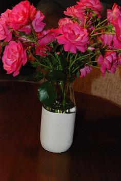 Frappuccino  bottles dipped in chalk paint for decorative vases.