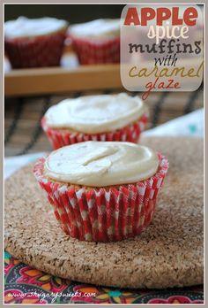 Apple Spice Muffins with Caramel Glaze