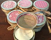 Fifty, 4 ounce green baby shower soy candle favors. $200.00, via Etsy.
