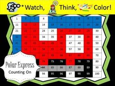 PowerPoint game - kids color a hundred chart to make a mystery picture.  This version shows addition problems where kids practice counting on to find the number.  When they are done they have colored the Polar Express.  Slides change themselves!  These games run themselves freeing you up.  You can meet one-on-one with a student, get copies ready, etc.  These games last about 10 minutes!  Students are engaged and practicing math skills!  Many pictures and skills are available!