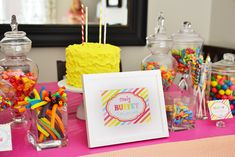 buffet tables, candy buffet, birthday parties, dessert tabl, rainbow birthday, candi buffet, parti idea, bright colors, kid