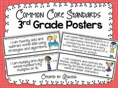 """his packet includes everything you need to post the standards you are working on in your classroom. The packet includes 5 different color schemes to choose from (and other themes can be added by request) for your posters and includes all of the Common Core Standards for Third Grade. The standards are worded as """"I can..."""" so that the students can verbalize the standards that they are working on. $"""