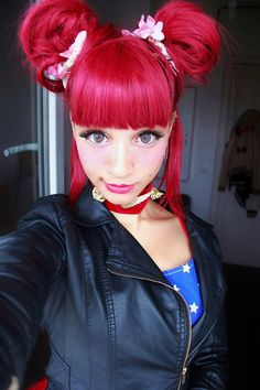 super cute reddish pink hair