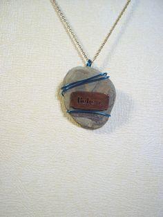 Believe - wire wrapped pendant - stone pendant - necklace pendant - jewelry. $25.00, via Etsy.