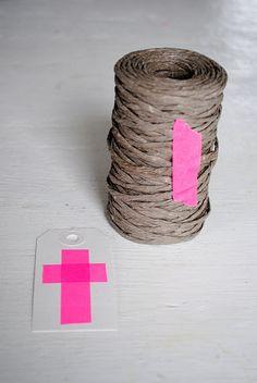*brown string & neon pink masking tape