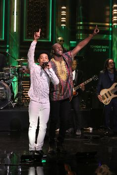 "Nico Sereba and Vincent Dery of Nico & Vinz pump up the crowd during a performance of their hit ""Am I Wrong"" on ""The Tonight Show Starring Jimmy Fallon"" on July 21 in New York"