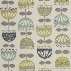 Mid-century modern inspired fabric.  I think I'm going to use this fabric to recover my mid-century modern chair cushions.  Love love love this!