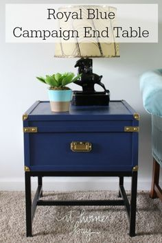 A thrift store find turned into a royal blue campaign side table. Details on At Home on the Bay.