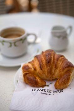 coffee and croissants at café de paris, monaco.