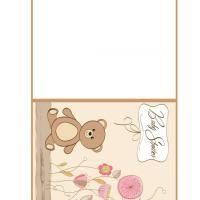 REPIN and LIKE Printable Teddy Bear & Flowers Baby Shower Card - FreePrintable.com
