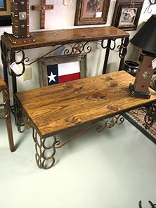 table made with horse shoes | Custom made sofa table with horseshoes, scroll and star iron accents ...
