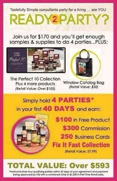 Best Time to Start your own Tastefully Simple Business! Im a Tastefully Simple consultant, would love to really expand my business. If you are interested in having a party, fundraiser or interested in becoming a consultant. message me for more details. Check out my fan page on facebook. Tastefully Simple by Lydia Imes www.tastefullysimple.com/web/limes